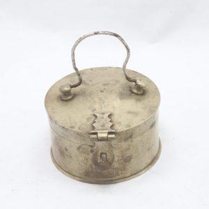 Antique Brass Vermilion Round Box