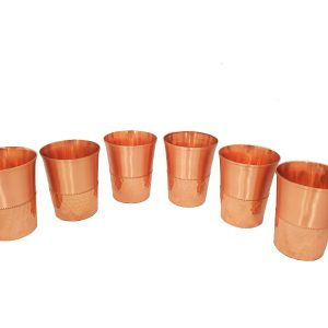 Copper (Tamba) Glass set | 6 Pieces | Bottom Hammered